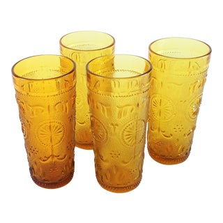 Vintage Amber American Concord Highball Glass - Set of 4 For Sale