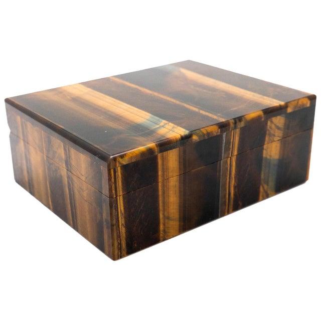 Brown Tiger's Eye Semi-Precious Stone Box For Sale - Image 8 of 8