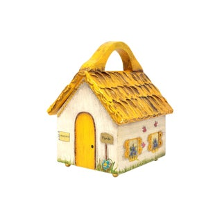 Hand-Painted House Shaped Box With Hinged Lid
