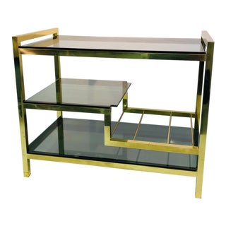 1970s Italian Brass Bar Cart With Smoke Glass Shelves For Sale