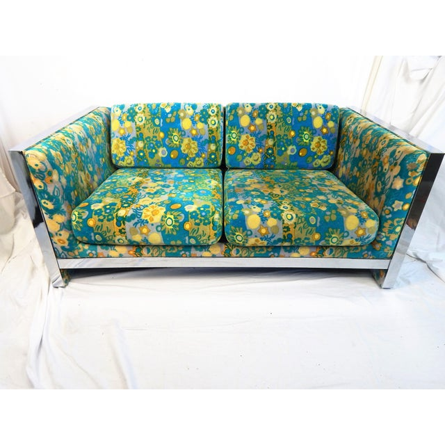 Vintage Jack Lenor Larsen Velvet Milo Baughman Loveseat For Sale - Image 13 of 13