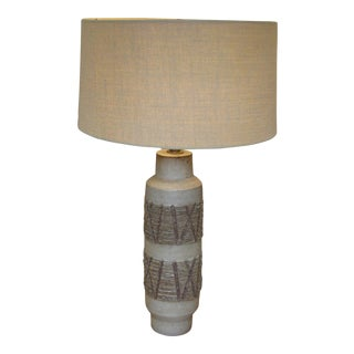 Lee Rosen for Design Technics Textured Ceramic Cylindrical Lamp With Shade For Sale