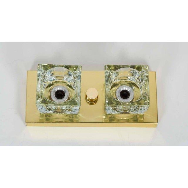 Pair of Mid-Century Modern Brass and Glass Cube Sconces by Gaetano Sciolari For Sale - Image 10 of 11
