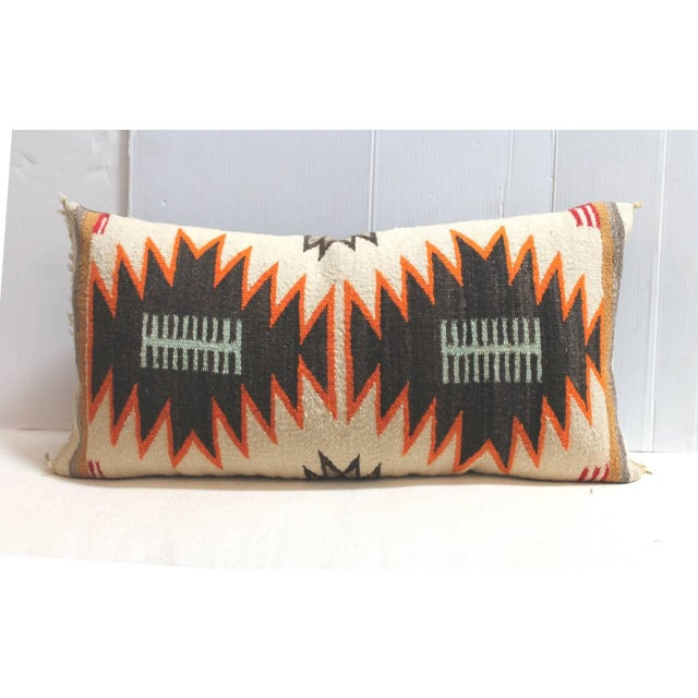 This amazing weaving has a great geometric look with the negative /positive colors. The weaving is from a saddle blanket....