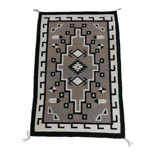 Navajo Two Grey Hills Vintage Hand Woven Wool Rug -c1920s