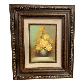 Charming Vintage Original Oil Painting Floral Still Life by Ann Julia Rant Framed For Sale