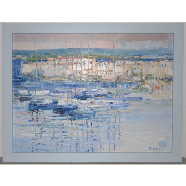 "Italo Botti ""Mast Reflections"" Impasto Oili Painting C.1987 For Sale In San Francisco - Image 6 of 6"