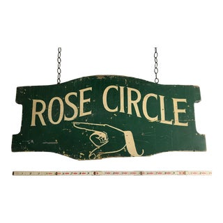 "Vintage ""Rose Circle"" Hand-Painted Wood Street Sign For Sale"