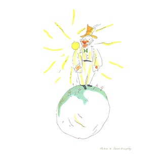 2008 Antoine De Saint Exupery 'The Conceited Man (Md)' Modernism White,Yellow,Green,Orange,Pastel France Lithograph For Sale