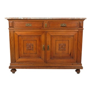 Late 19th-C. Marble Top Chest/ Commode With Flower Carving For Sale