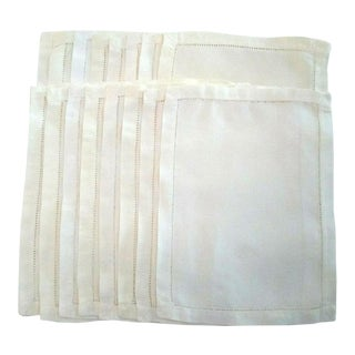 Fine Linen Large Beige Hemstitched Cocktail Napkins - Set of 16 For Sale