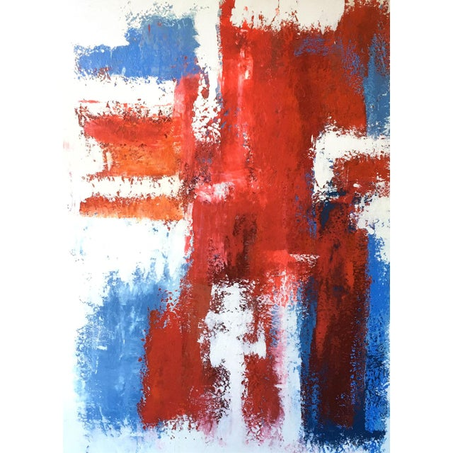 Large-scale abstract oil painting, circa 1990s, by Brazilian artist Mario Sergio Lopomo. Brilliant blues and reds over an...