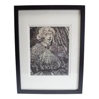 Vintage Russian Folk Art Lithograph For Sale
