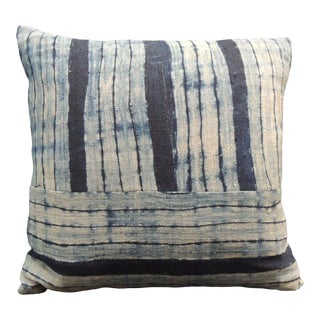Vintage Shibori Stripes Blue Asian Decorative Pillow For Sale