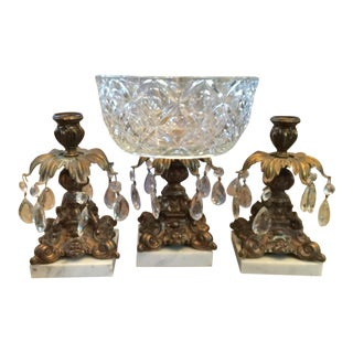 Italian Crystal Prism Compote & Candleholders - 3 Pieces For Sale