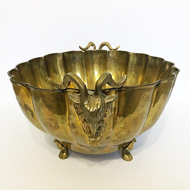 Brass Footed Ram Head Bowl - Image 3 of 8