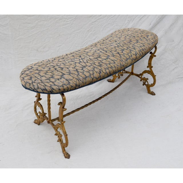 Gilt Iron Bench in Indigo Blue Leopard For Sale - Image 11 of 13