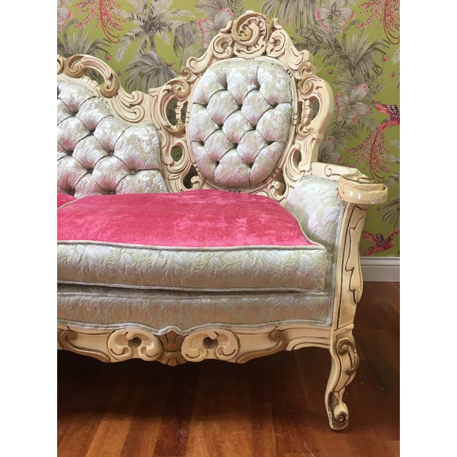 Boho Chic Boho Chic Rococo French Boudoir Parlor Sofa For Sale - Image 3 of 4