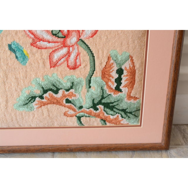 1970s Vintage Crewel Pink Floral Needlepoint For Sale - Image 6 of 8