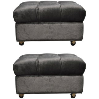 "Tufted Dunbar Rolling ""Party Ottomans"" by Edward Wormley For Sale"