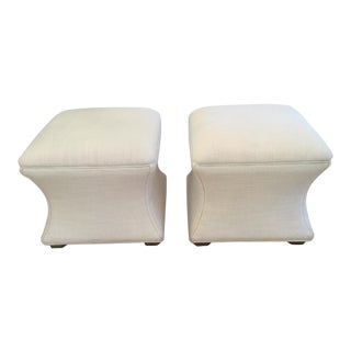 Traditional Ethan Allen Corbin Off-White Linen Ottomans - a Pair For Sale