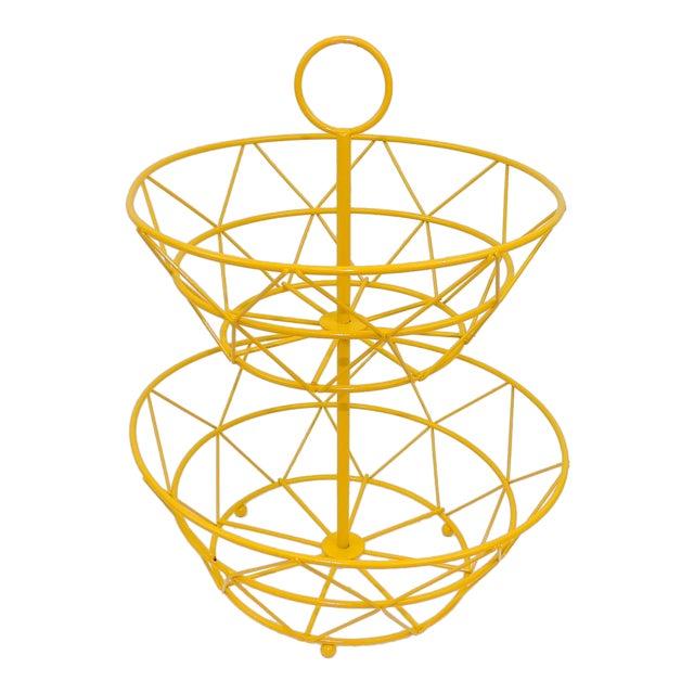Yellow Metal Fruit Basket - Image 1 of 6