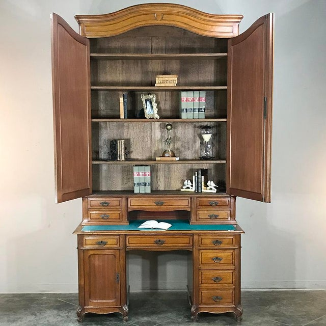 Mid 19th Century Grand 19th Century Louis Philippe Walnut Desk With Bookcase For Sale - Image 5 of 12