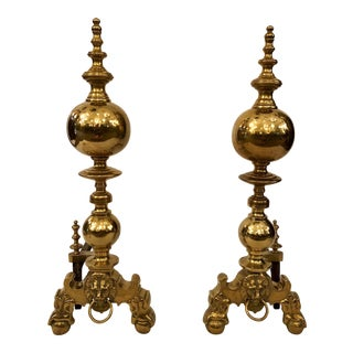Pair Antique English Brass Andirons, Circa 1860-1880. For Sale