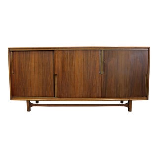Mid-Century Danish Modern Walnut Sliding Door Credenza by Cavalier For Sale