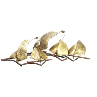 Vintage Brutalist Sailboats Abstract Wall Sculpture For Sale