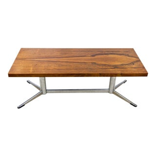 Mid-Century Modern Walnut and Chrome Coffee Table For Sale
