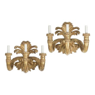 Pair of Huge Fine Designer Neoclassical Style Gilt-Wood Wall Sconces For Sale