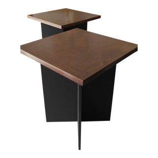 Milo Baughman Style Side Tables - a Pair
