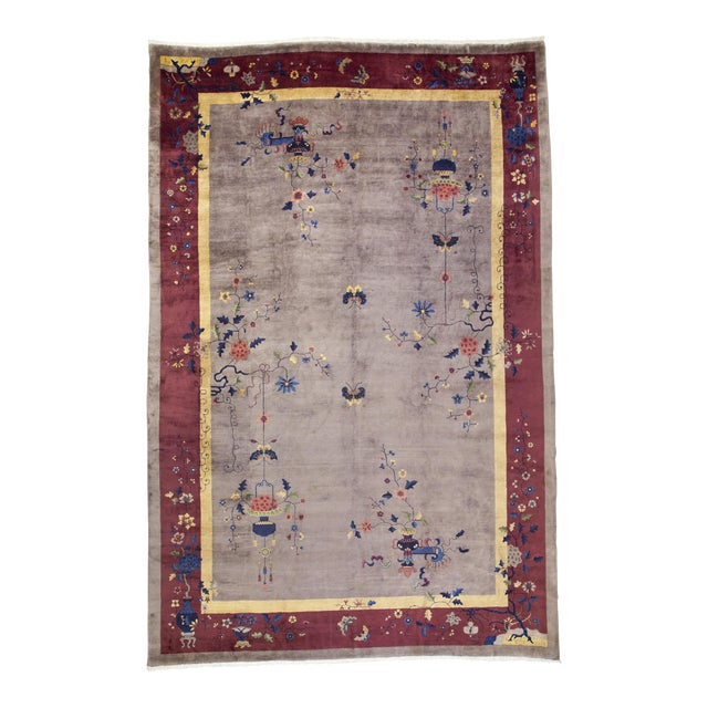 Early 20th Century Antique Chinese Rug - 12′ × 17′ For Sale