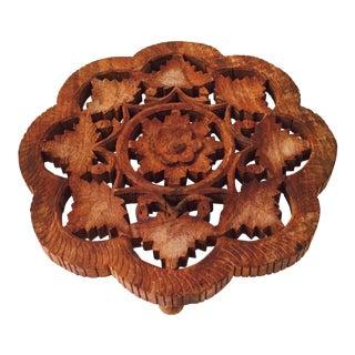 Vintage Carved Wood Flower Trivet For Sale