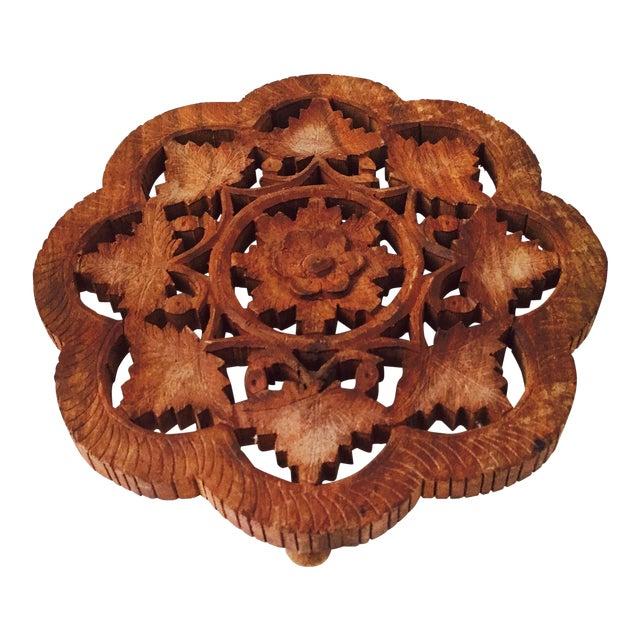 vintage carved wood flower trivet chairish