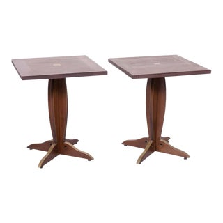 Solid Walnut and Brass French Art Deco Period Square Bistro Tables - a Pair For Sale