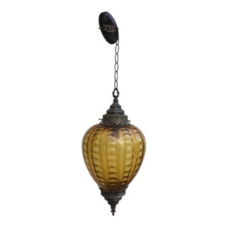 Vintage Bohemian Amber Hanging Shade For Sale