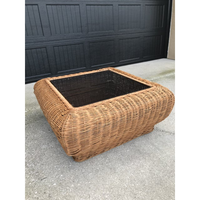 Vintage Mid-Century Modern Boho Chic Wicker Coffee Table For Sale - Image 10 of 11