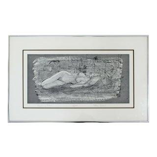 Mid Century Modern Framed Signed Ellie Gibbel Reclining Nude 8/125 For Sale
