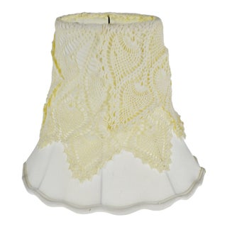 Vintage Bell Shaped Crochet Top Fabric Lamp Shade For Sale