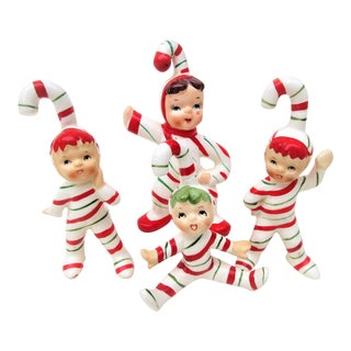 1950s Vintage Lefton Candy Cane Pixie Figurines - Set of 4 For Sale