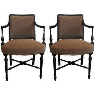 Edwardian Ebonized Upholstered Arm Chairs - A Pair For Sale