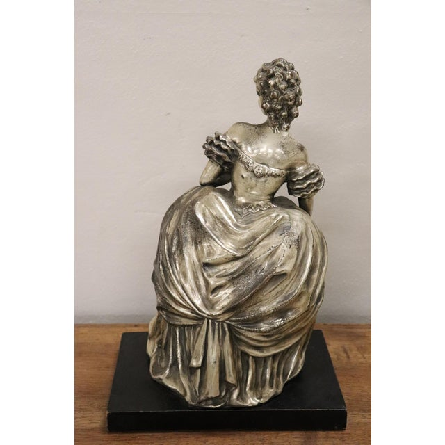 Clay 20th Century Italian Sculpture in Silvered Clay Figure of a Lady by B Tornati For Sale - Image 7 of 12