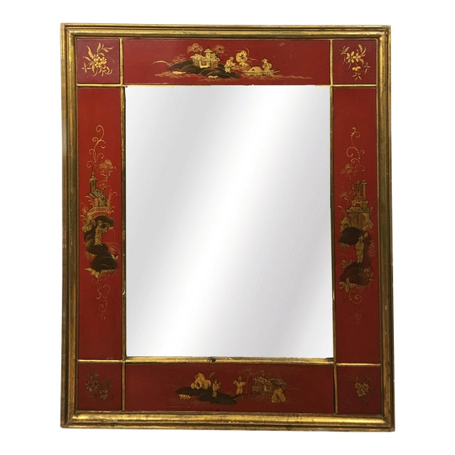20th Century Chinoiserie Red Mirror Frame For Sale