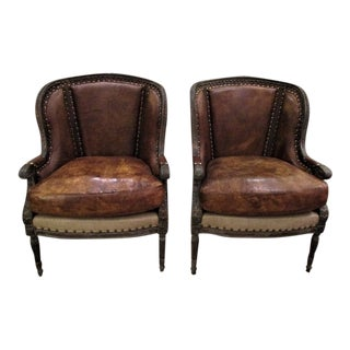 American Classical Brown Leather Wingback Chairs - a Pair