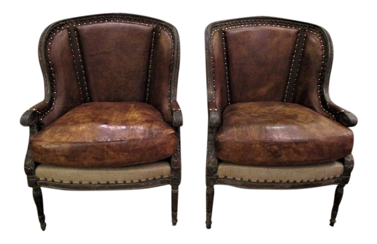American Classical Brown Leather Wingback Chairs   A Pair