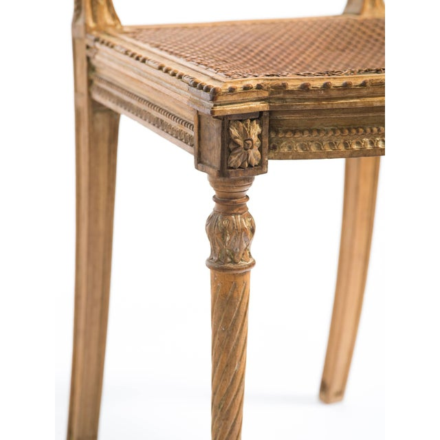 1920s Vintage Hand-Carved French Caned Side Chair For Sale - Image 4 of 8