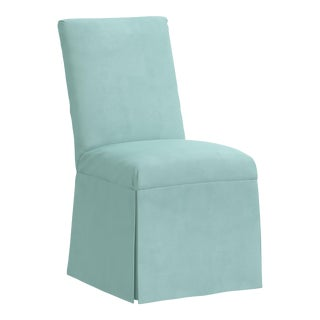 Slipcover Dining Chair in Velvet Caribbean For Sale