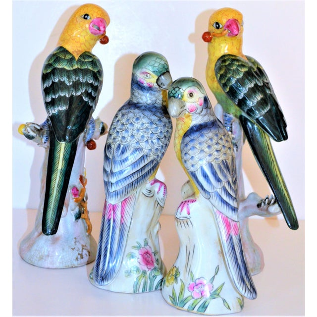 (Final Mark Down Taken) Chinese Export Porcelain Parrot Figurines - Set of 4 For Sale In Houston - Image 6 of 12